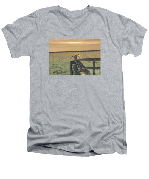 Men's V-Neck T-Shirt featuring the photograph The Loner by Melissa Messick