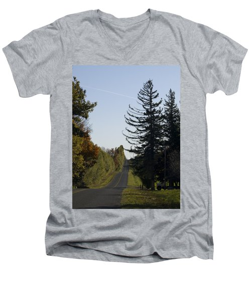 Men's V-Neck T-Shirt featuring the photograph The Long Road by Tara Lynn