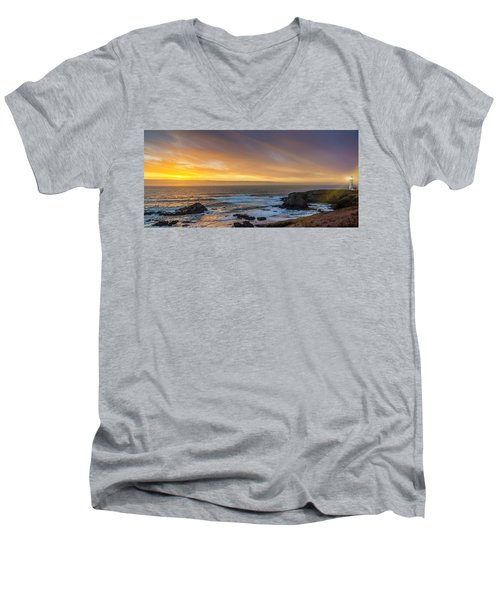 The Long View Men's V-Neck T-Shirt by James Heckt