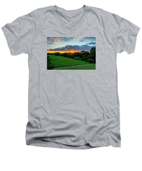 Men's V-Neck T-Shirt featuring the photograph The Lower Rhine Region by Sabine Edrissi