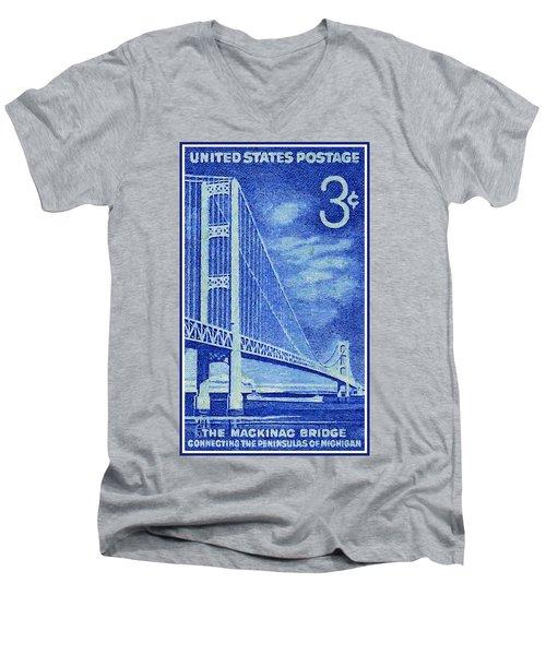 The Mackinac Bridge Stamp Men's V-Neck T-Shirt