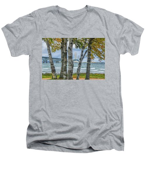 The Mackinaw Bridge By The Straits Of Mackinac In Autumn With Birch Trees Men's V-Neck T-Shirt