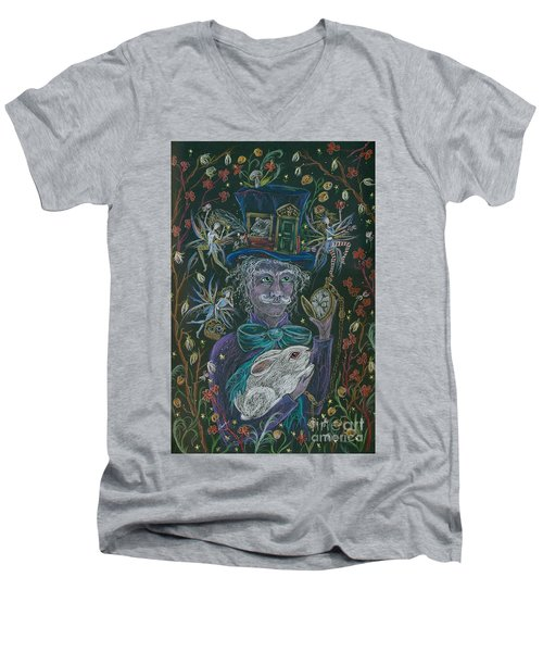Men's V-Neck T-Shirt featuring the drawing The Maddening Hatter by Dawn Fairies