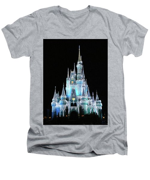 The Magic Kingdom Castle In Frosty Light Blue Walt Disney World Mp Men's V-Neck T-Shirt by Thomas Woolworth