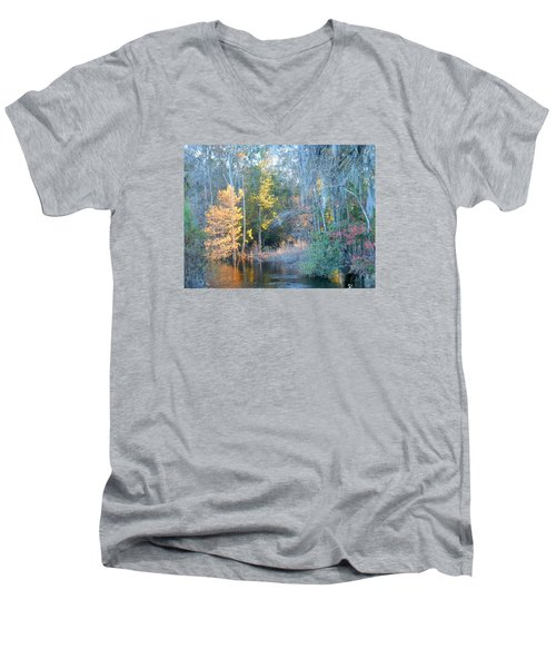 Men's V-Neck T-Shirt featuring the photograph The Magic Of Autumn Sunshine by Kay Gilley