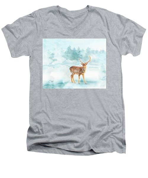 Men's V-Neck T-Shirt featuring the painting The Magic Of Winter  by Colleen Taylor