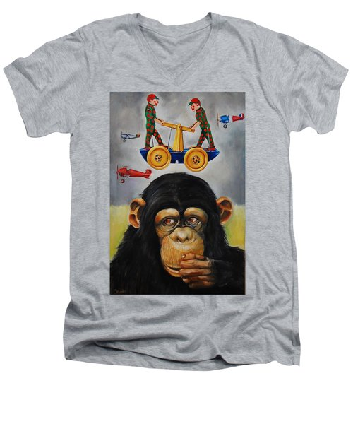 The Magnificent Flying Strauss Men's V-Neck T-Shirt by Jean Cormier