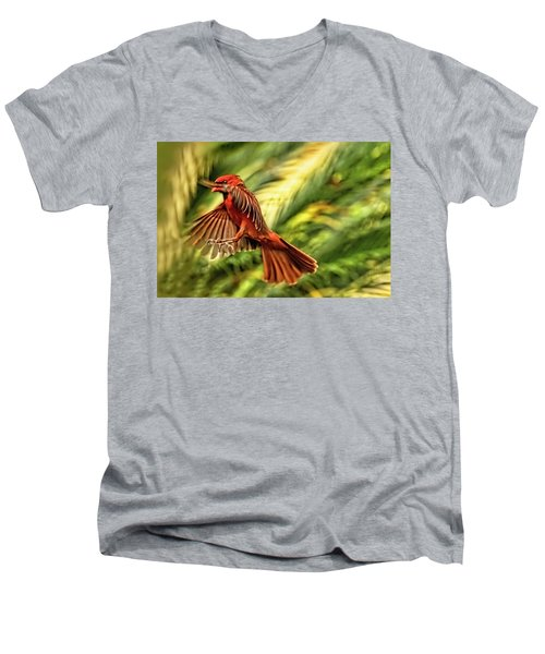The Male Cardinal Approaches Men's V-Neck T-Shirt