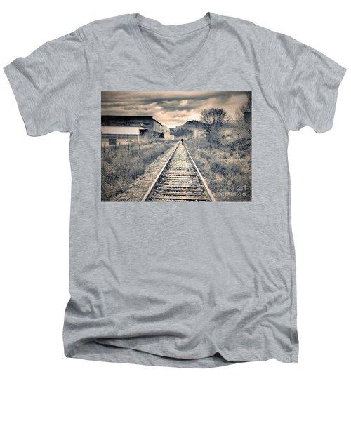 The Man On The Tracks Men's V-Neck T-Shirt