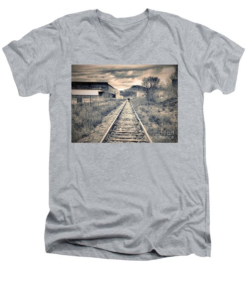 The Man On The Tracks Men's V-Neck T-Shirt by Tara Turner
