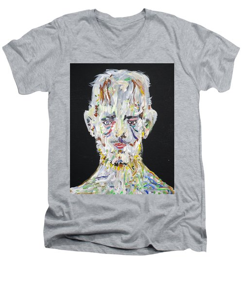 Men's V-Neck T-Shirt featuring the painting The Man Who Tried To Become A Mountain by Fabrizio Cassetta