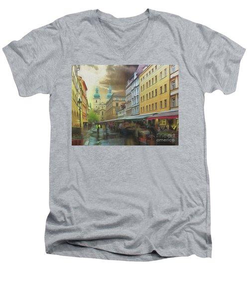The Market In The Rain Men's V-Neck T-Shirt