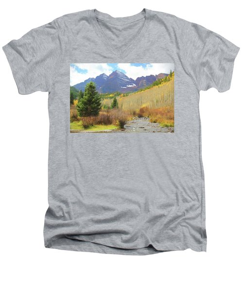 Men's V-Neck T-Shirt featuring the photograph The Maroon Bells Reimagined 3 by Eric Glaser