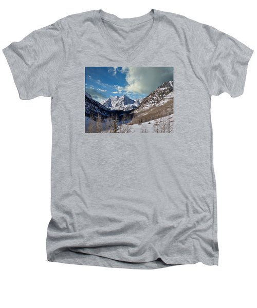 The Maroon Bells Twin Peaks Just Outside Aspen Men's V-Neck T-Shirt