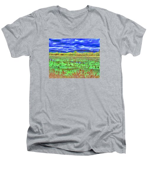 Men's V-Neck T-Shirt featuring the photograph The Marshlands by B Wayne Mullins