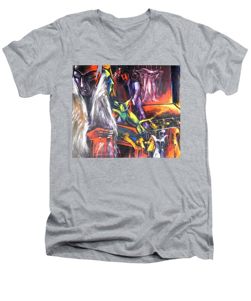 Men's V-Neck T-Shirt featuring the painting The Mass Process Of Meaningless Animal Slaughter by Kenneth Agnello