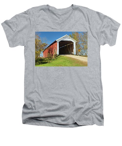 Men's V-Neck T-Shirt featuring the photograph The Mcallister Covered Bridge by Harold Rau