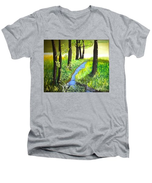 Men's V-Neck T-Shirt featuring the painting The Meadow by Rod Jellison