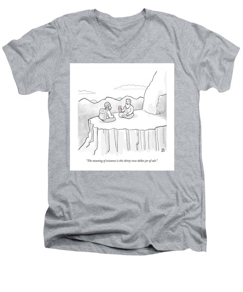 The Meaning Of Existence Is This Jar Of Salt Men's V-Neck T-Shirt