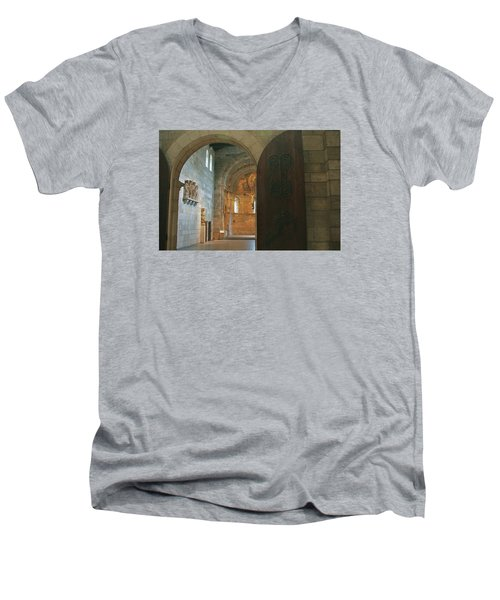 An Early Morning At The Medieval Abbey Men's V-Neck T-Shirt by Yvonne Wright