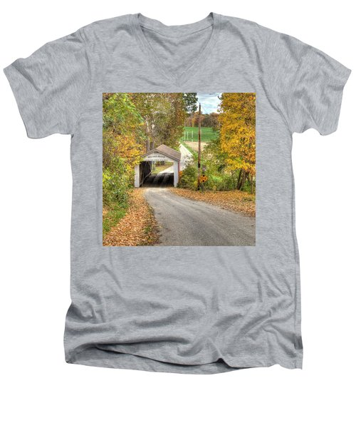 Men's V-Neck T-Shirt featuring the photograph The Melcher Covered Bridge by Harold Rau