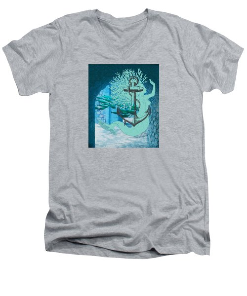 The Mermaid The Anchor And School Of Fish In The Underwater Ruins Men's V-Neck T-Shirt by Sandra McGinley