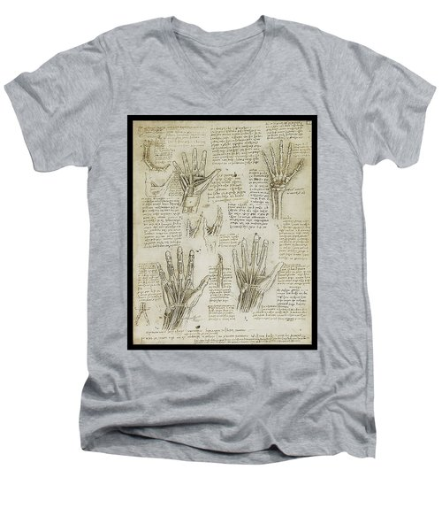 Men's V-Neck T-Shirt featuring the painting The Metacarpal by James Christopher Hill