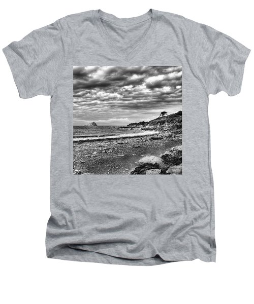 The Mewstone, Wembury Bay, Devon #view Men's V-Neck T-Shirt by John Edwards