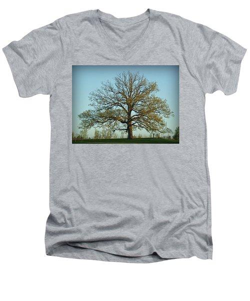 The Mighty Oak In Spring Men's V-Neck T-Shirt