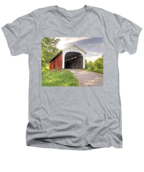 The Mill Creek Covered Bridge Men's V-Neck T-Shirt by Harold Rau