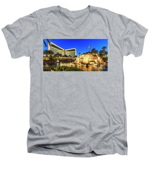 The Mirage Casino And Volcano At Dusk Men's V-Neck T-Shirt by Aloha Art