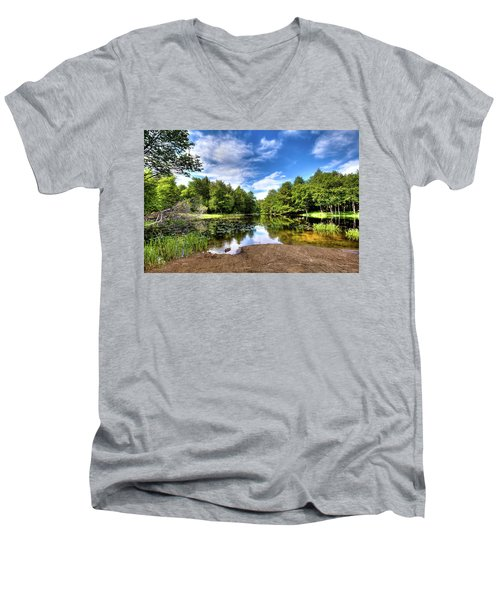 Men's V-Neck T-Shirt featuring the photograph The Moose River At Covewood by David Patterson