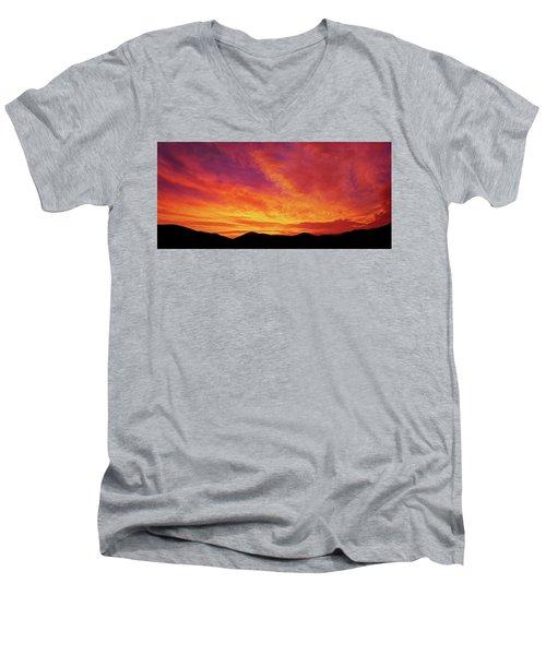 The Morning Sky Ablaze Men's V-Neck T-Shirt
