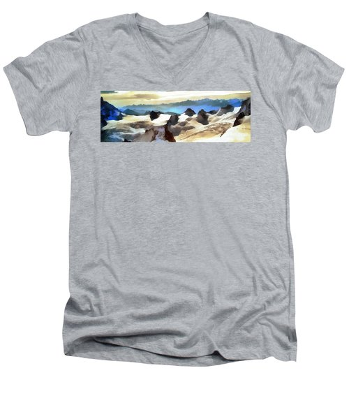 The Mountain Paint Men's V-Neck T-Shirt by Odon Czintos