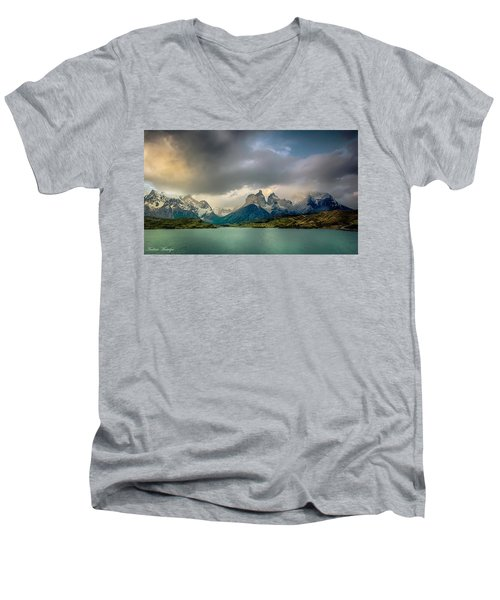 The Mountains On The Lake Men's V-Neck T-Shirt by Andrew Matwijec