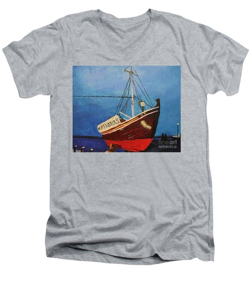 The Mykonos Boat Men's V-Neck T-Shirt