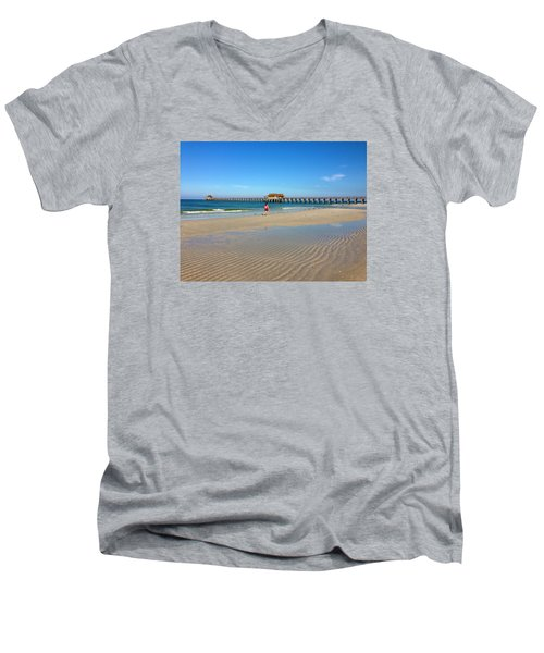 Men's V-Neck T-Shirt featuring the photograph The Naples Pier At Low Tide by Robb Stan