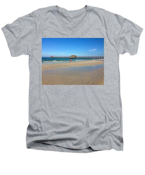 The Naples Pier At Low Tide Men's V-Neck T-Shirt