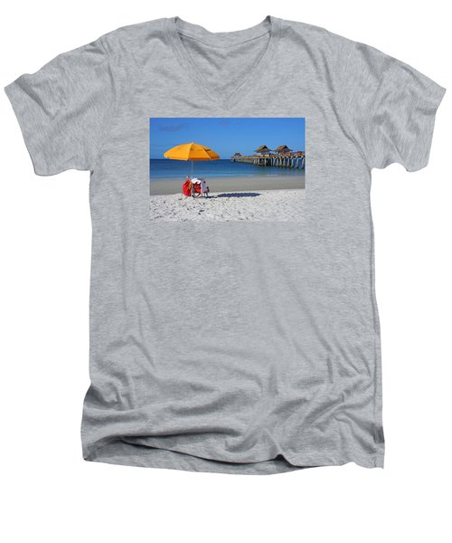 Men's V-Neck T-Shirt featuring the photograph The Naples Pier by Robb Stan