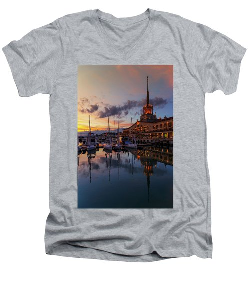 the nautical station and the yacht on the main sea channel of the Sochi seaport Men's V-Neck T-Shirt