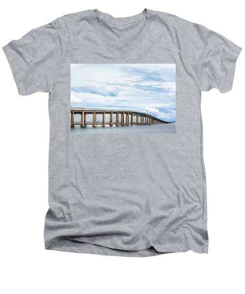 Men's V-Neck T-Shirt featuring the photograph The Navarre Bridge by Shelby Young
