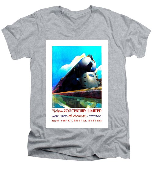 The New 20th Century Limited New York Central System 1939 Leslie Ragan Men's V-Neck T-Shirt