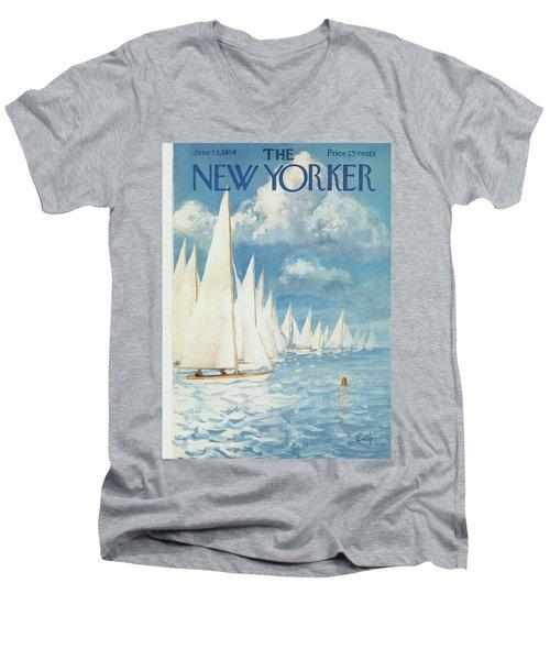 New Yorker Cover - June 13th, 1959 Men's V-Neck T-Shirt