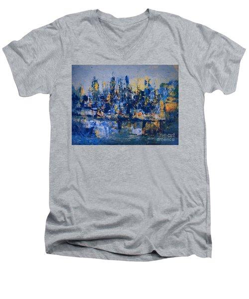 The Night City Men's V-Neck T-Shirt by Nancy Kane Chapman