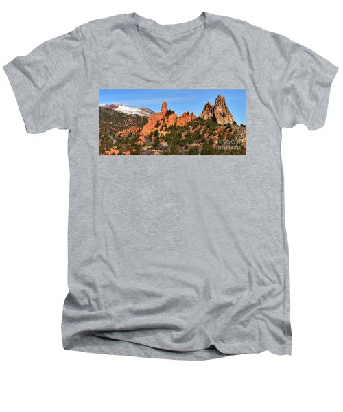 Men's V-Neck T-Shirt featuring the photograph The High Point View by Adam Jewell