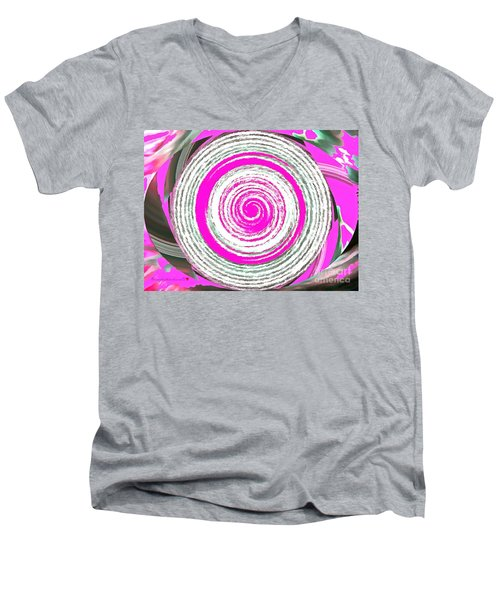 Men's V-Neck T-Shirt featuring the painting The Noise by Catherine Lott