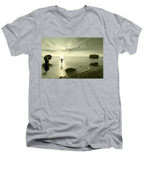 The Northern End Men's V-Neck T-Shirt by Nathan Wright