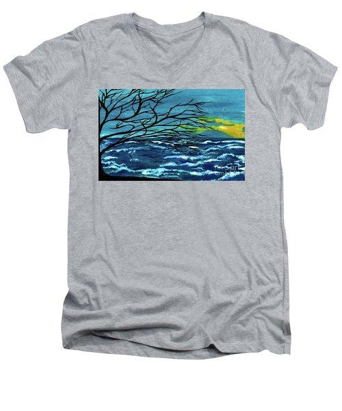 The Ocean Men's V-Neck T-Shirt by Saribelle Rodriguez