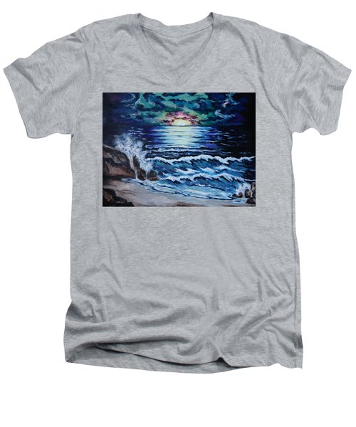 The Ocean Sings The Sky Listens Men's V-Neck T-Shirt by Cheryl Pettigrew