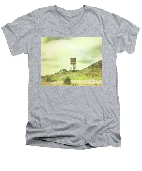 The Old Barn And Water Tower In Vintage Style San Luis Obispo California Men's V-Neck T-Shirt